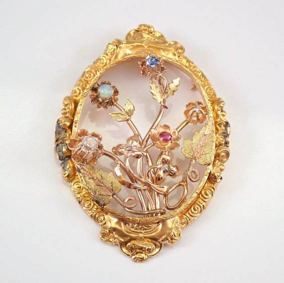 Antique 14K Yellow Gold Ruby Sapphire Opal Old Miner Diamond Flower Brooch Pin Pendant