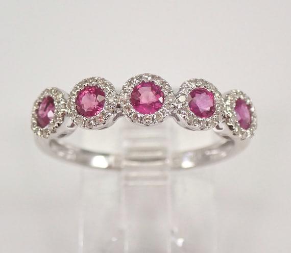 14K White Gold Diamond and Ruby Halo Wedding Ring Anniversary Band Size 7 FREE Sizing