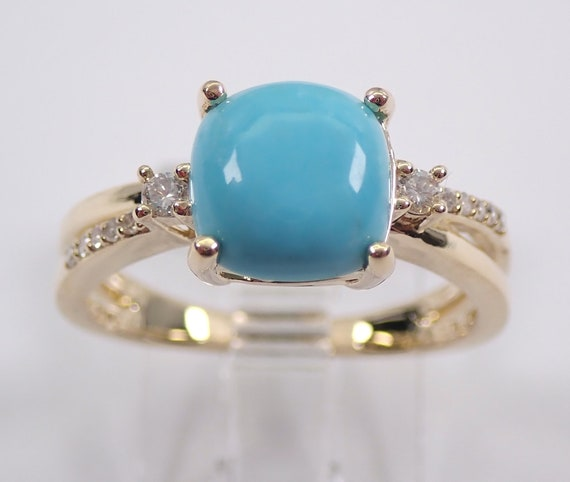 Turquoise and Diamond Ring 14K Yellow Gold Cushion Cut Sleeping Beauty Teal Color FREE Sizing