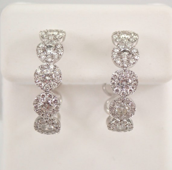 18K White Gold 1.44 ct Diamond Hoop Earrings Halo Diamonds Hoops PERFECT Gift