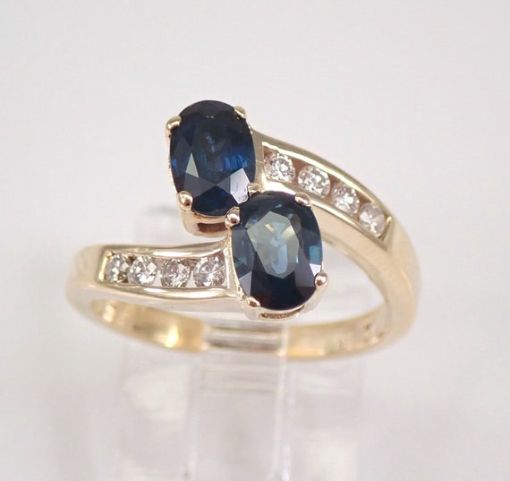 14K Yellow Gold Sapphire and Diamond Bypass Two Stone Cocktail Ring Size 5.25 FREE SIZING