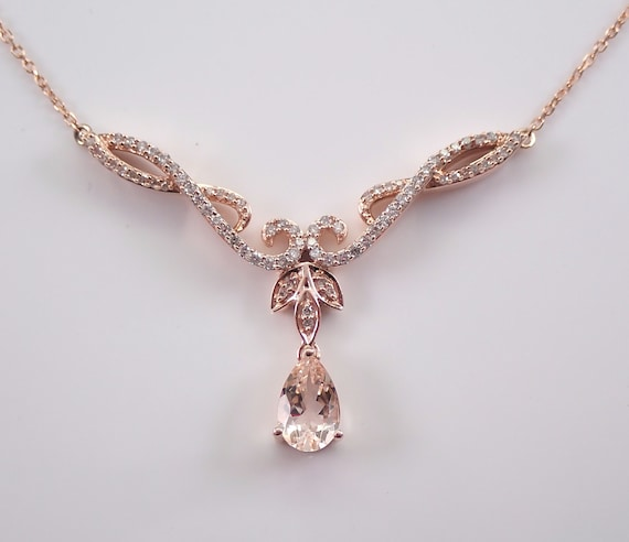 "Morganite and Diamond Necklace Rose Gold 17.5"" Chain Wedding Gift Special Gift"