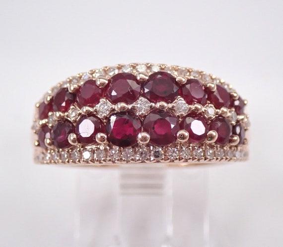 Diamond and Ruby Wedding Ring Anniversary Band 14K Rose Gold July Gemstone FREE Sizing