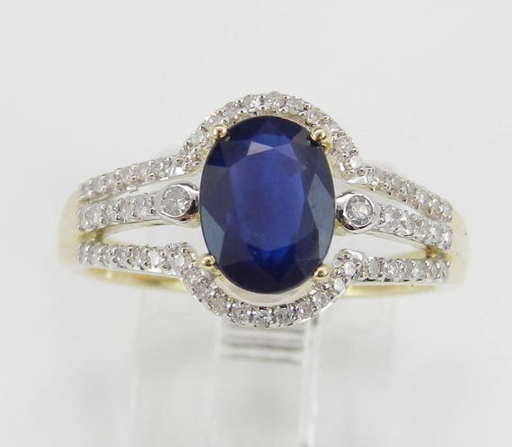 Diamond and Sapphire Engagement Ring Yellow Gold Size 7 September Birthstone FREE Sizing