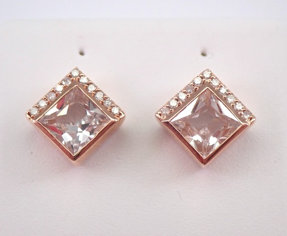 Princess Cut Morganite and Diamond Stud Earrings Pink Aqua Rose Gold Studs