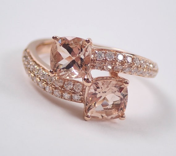 14K Rose Gold Diamond and Cushion Cut Morganite Bypass Ring Size 7 Pink Aqua Aquamarine Beryl