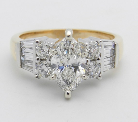 2.02 ct Marquise Diamond Engagement Ring 14K White and Yellow Gold