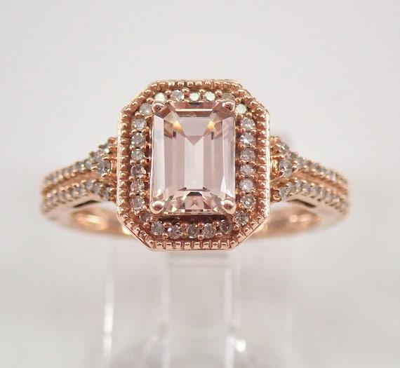 Emerald Cut Morganite and Diamond Halo Engagement Ring Rose Gold Size 7 FREE SIZING