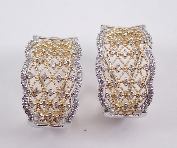 White and Yellow Gold Diamond Cluster Lattice Filigree Earrings Omega Clasp Lacy Design