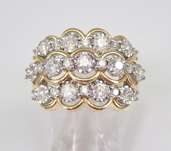 1.00 ct Diamond Wedding Ring Wide Anniversary Band Yellow Gold Size 7 FREE Sizing