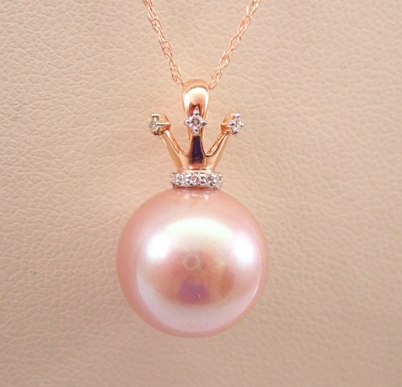 """14K Rose Gold Diamond and Pink South Sea Pearl CROWN Necklace Pendant Chain 18"""""""