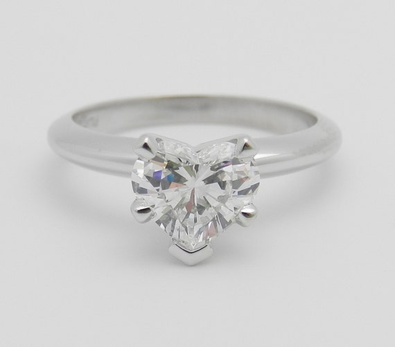 SOLITAIRE Heart Diamond Engagement Ring Platinum 1.04 ct EGL USA