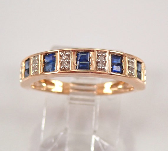 Rose Gold Sapphire and Diamond Wedding Ring Anniversary Band Size 6.75 September Birthstone FREE Sizing