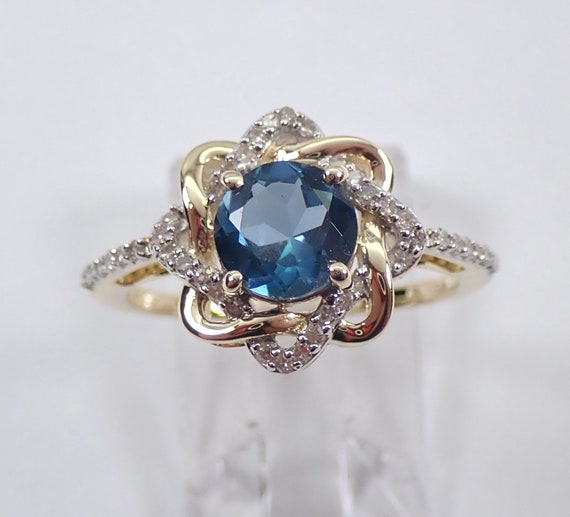London Blue Topaz and Diamond Halo Engagement Ring Yellow Gold Size 7 December Birthstone FREE Sizing