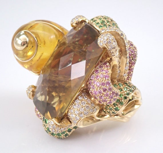 Diamond Lemon Quartz Amber Pink and Green Sapphire ONE OF A KIND Ring 18K Yellow Gold 102.4 gram