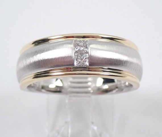 Mens Princess Cut Diamond Wedding Ring 14K Two Tone Satin Finish Gold Anniversary Band Size 10