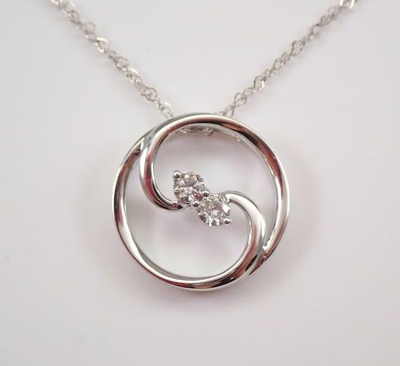"Diamond Necklace Circle of Life Pendant 14K White Gold Modern Gift Chain 18"""