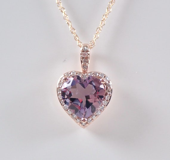 "Amethyst and Diamond Heart Halo Pendant Necklace 18"" Chain Rose Gold Love Gift"