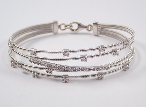 14K White Gold Diamond Multi Row Crossover Flexible Bangle Bracelet Cuff