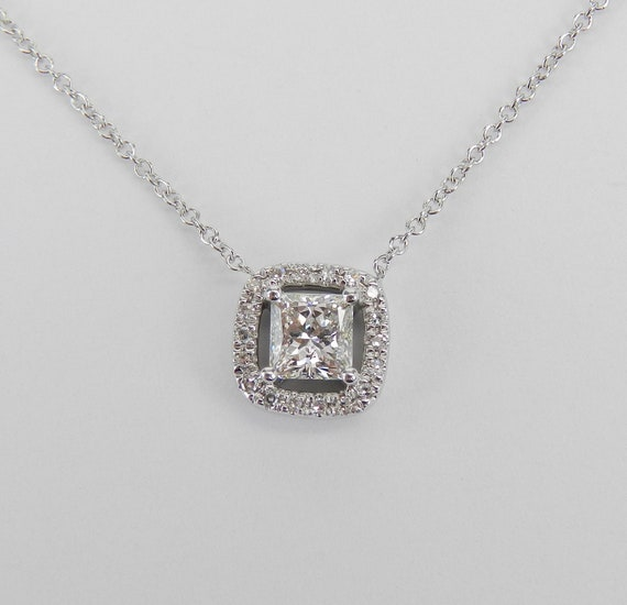 "14K White Gold Princess Cut Diamond Halo Pendant Necklace 18"" Chain Genuine Natural"