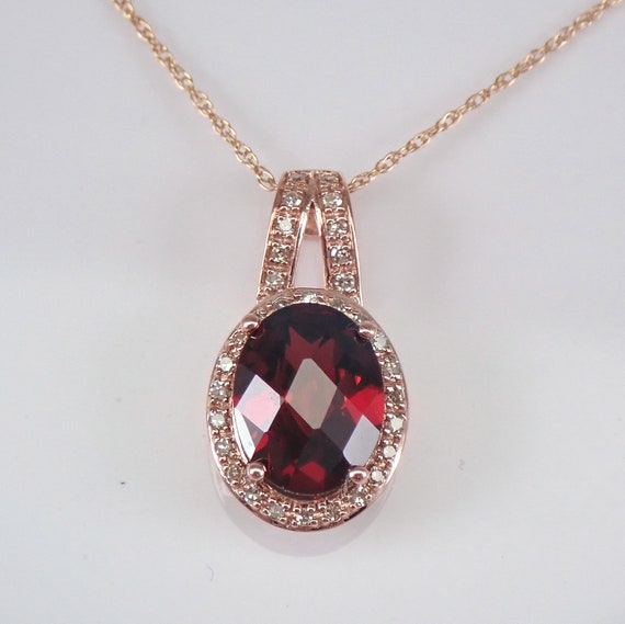 "Garnet and Diamond Halo Pendant Rose Gold Necklace 18"" Chain January Birthstone"