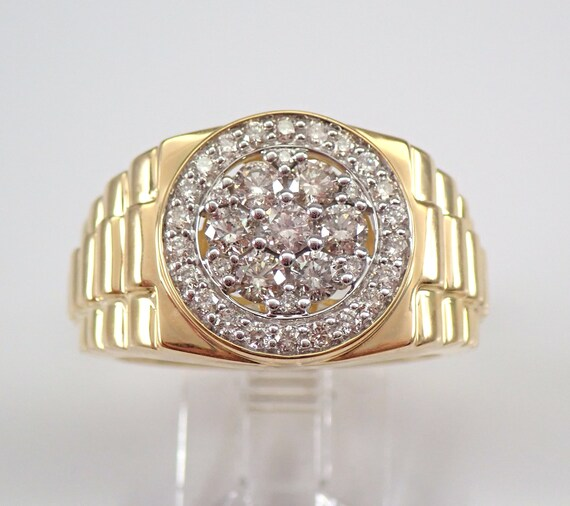 Men's 1.00 ct Diamond Cluster Wedding Ring Anniversary Band Yellow Gold Size 10