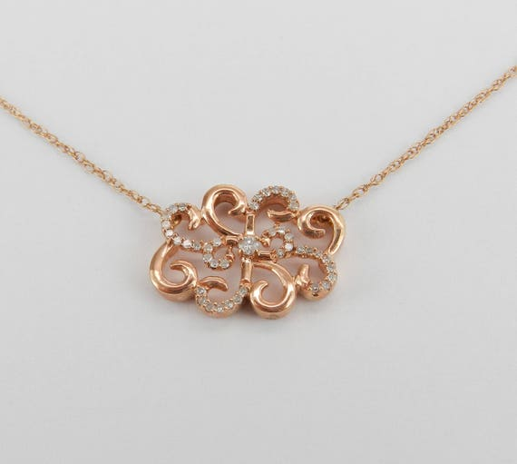"Rose Gold Diamond Cluster Necklace Unique Filigree Scroll Pendant 17.5"" Chain"