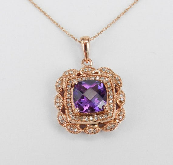 Amethyst Necklace, Diamond and Amethyst Pendant, Cushion Cut Halo Necklace, Rose Gold Diamond and Amethyst Pendant, Pink Gold Chain