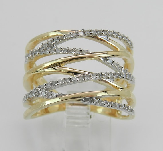 Yellow Gold Ring, Diamond Crossover Ring, Multi Row Band, Modern Ring, Anniversary Ring, Wide Ring, Size 7