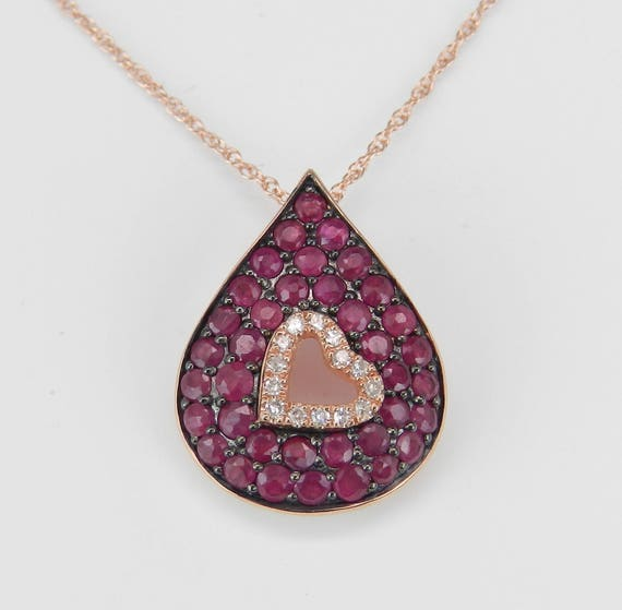 """Diamond and Ruby Heart Necklace Cluster Pendant 14K Rose Gold 18"""" Chain July Gem"""