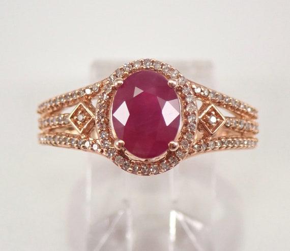 Ruby and Diamond Halo Engagement Ring Rose Gold Size 7 July Gemstone FREE SIZING