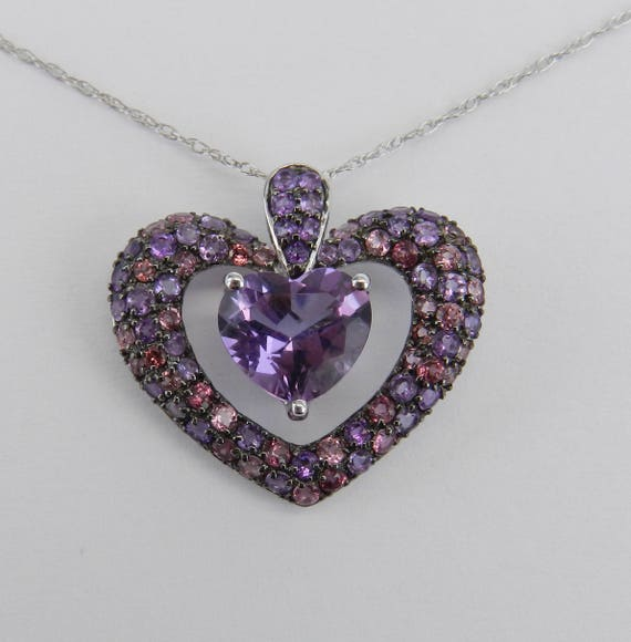 "Tourmaline and Heart Amethyst Dangle Pendant Necklace 18"" Chain 14K White Gold"