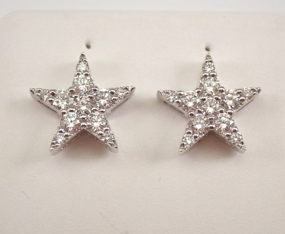 14K White Gold Diamond STAR Cluster Stud Earrings Unique Studs Wedding Gift