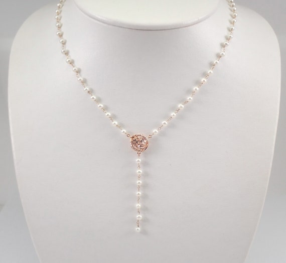 """Pearl Morganite and Diamond Lariat Necklace 14K Rose Gold 17"""" MUST SEE"""