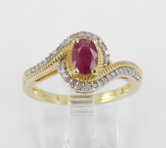 Ruby and Diamond Engagement Ring Promise Yellow Gold Size 7 July Gemstone