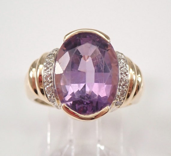 Vintage Estate 14K Yellow Gold 3.60 ct Amethyst and Diamond Engagement Ring 6.5