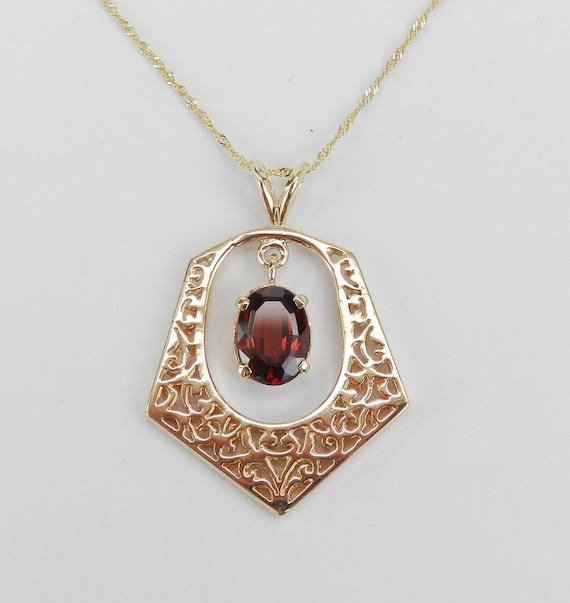 """14K Yellow Gold Antique Vintage Garnet Dangle Necklace Pendant 20"""" Chain 1960's"""