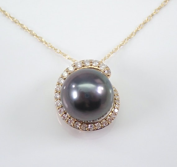 "14K Yellow Gold Diamond and Black Tahitian Pearl Pendant Halo Necklace Chain 18"" June Birthday"