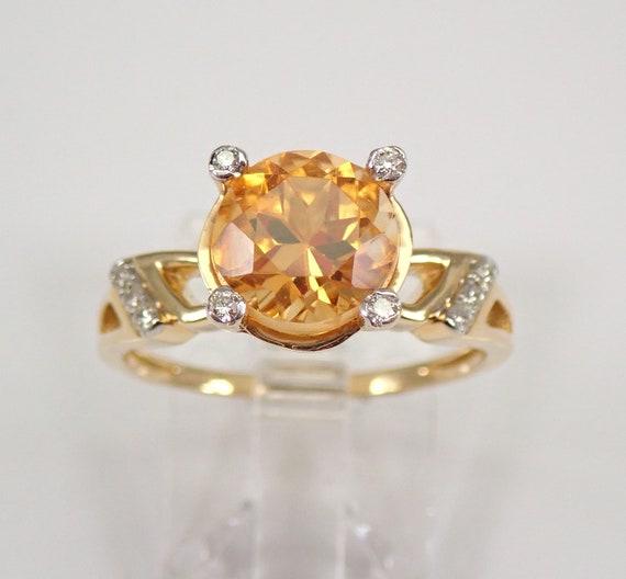 2.15 ct Diamond and Citrine Engagement Ring 14K Yellow Gold Size 7 November Gemstone FREE Sizing