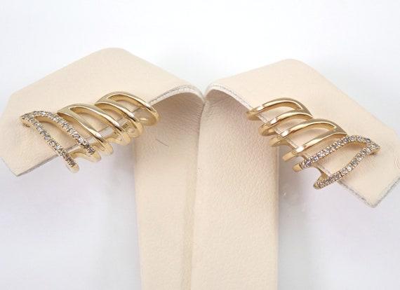 Diamond Ear Climbers Earrings Crawler Yellow Gold Cuff Modern Wedding Gift Bridesmaid Present
