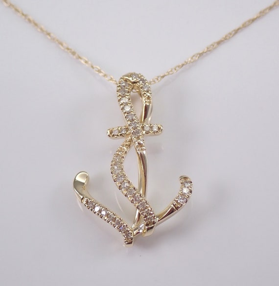 "14K Yellow Gold Diamond ANCHOR Pendant Chain 18"" Nautical Necklace Marine"