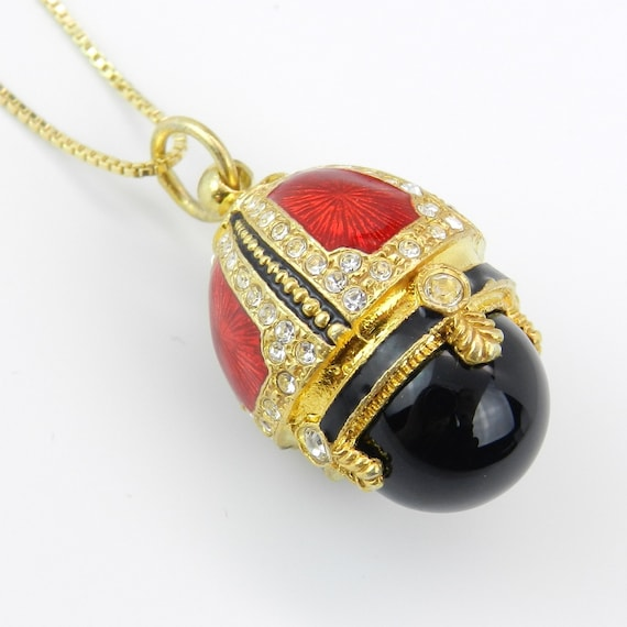 "18K Yellow Gold over Sterling Silver Red Enamel and Black Onyx Swarovski Crystal Pendant with Chain 18"" Faberge Style Egg"
