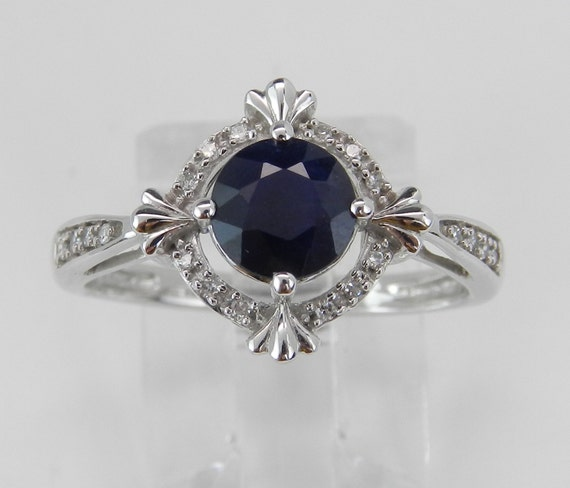 Diamond and Sapphire Halo Engagement Promise Ring White Gold Size 7 September Birthstone