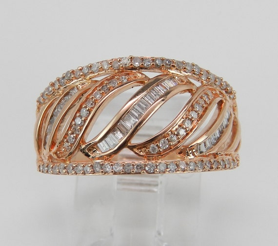 Rose Gold Diamond Ring, Pink Gold Diamond Anniversary Band, Rose Gold Wedding Ring, Size 7.25