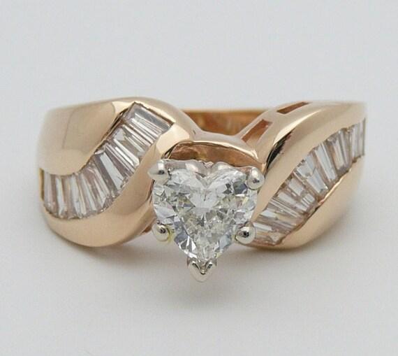 Diamond Engagement Ring, 1.41 ct Heart Diamond Ring, 14K Yellow Gold Heart Engagement Ring