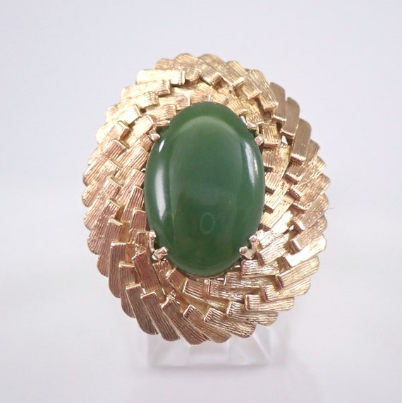 Vintage Antique 14K Yellow Gold Jade Solitaire Ring Size 5.25 Estate Jewelry FREE Sizing