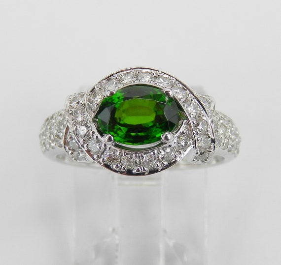 14K White Gold Diamond and Green Tsavorite Garnet Engagement Ring Size 5.5 FREE Sizing