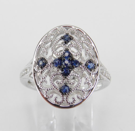 Vintage Style Ring, White Gold Ring, Diamond and Sapphire Cocktail Ring, Filigree Ring, Antique Style Cluster Ring, Size 6.75 FREE Sizing