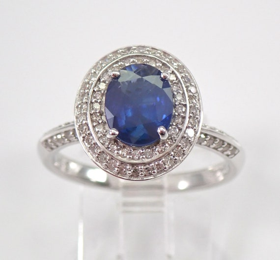 White Gold Diamond and Sapphire Halo Engagement Ring Size 7 September Gemstone FREE Sizing