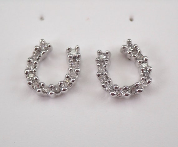 14K White Gold Diamond Studs HORSESHOE Stud Earrings Petite Studs Good Luck
